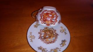Porcelain Cup and saucer with the image of the people in the gazebo
