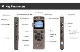 Yulass GV30 LGSIXE digital voice recorder 8GB mini mp3 player